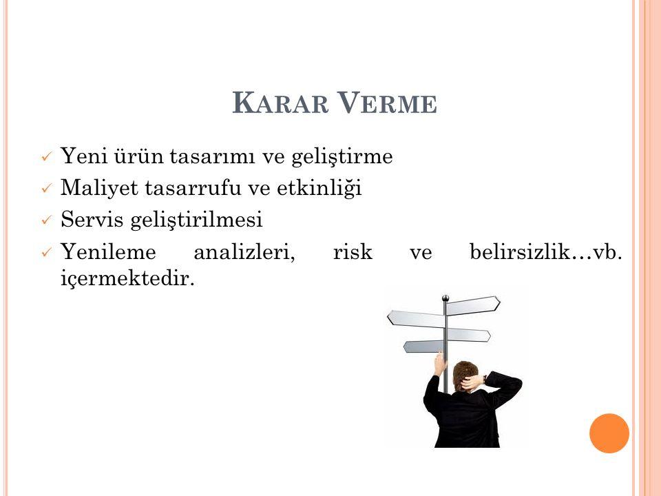 K ARAR V ERME Yeni ürün tasarımı ve geliştirme Maliyet tasarrufu ve etkinliği Servis geliştirilmesi Yenileme analizleri, risk ve belirsizlik…vb.