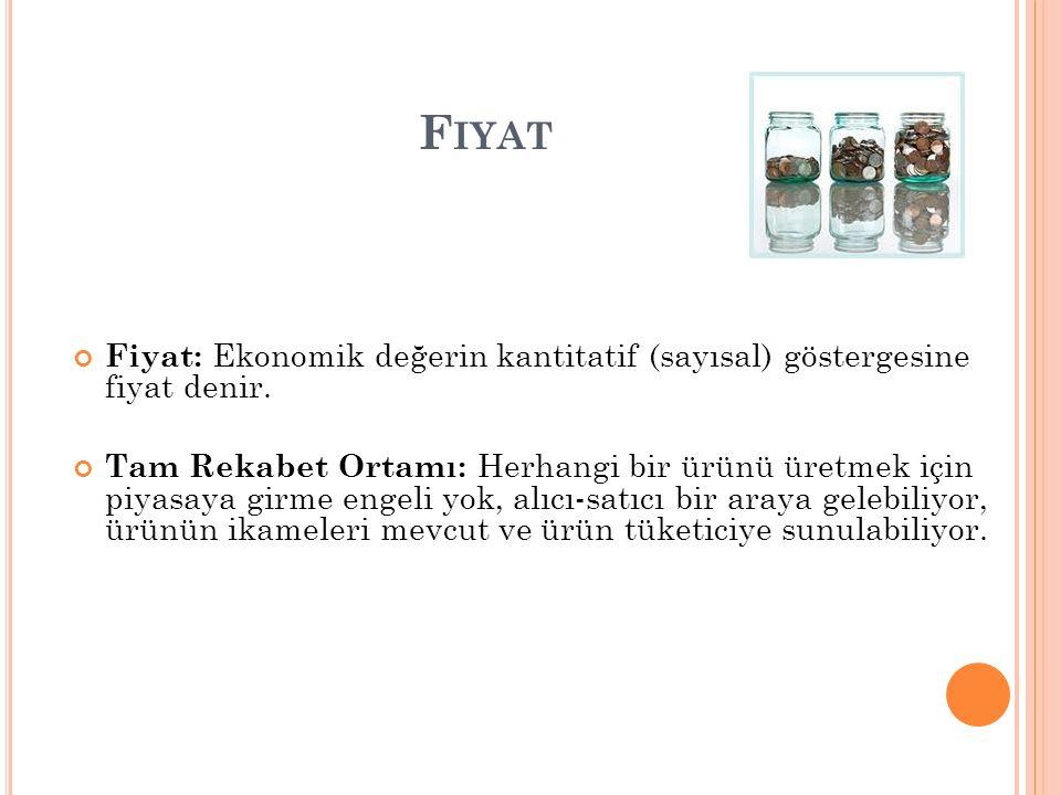 F IYAT Fiyat: Ekonomik değerin kantitatif (sayısal) göstergesine fiyat denir.