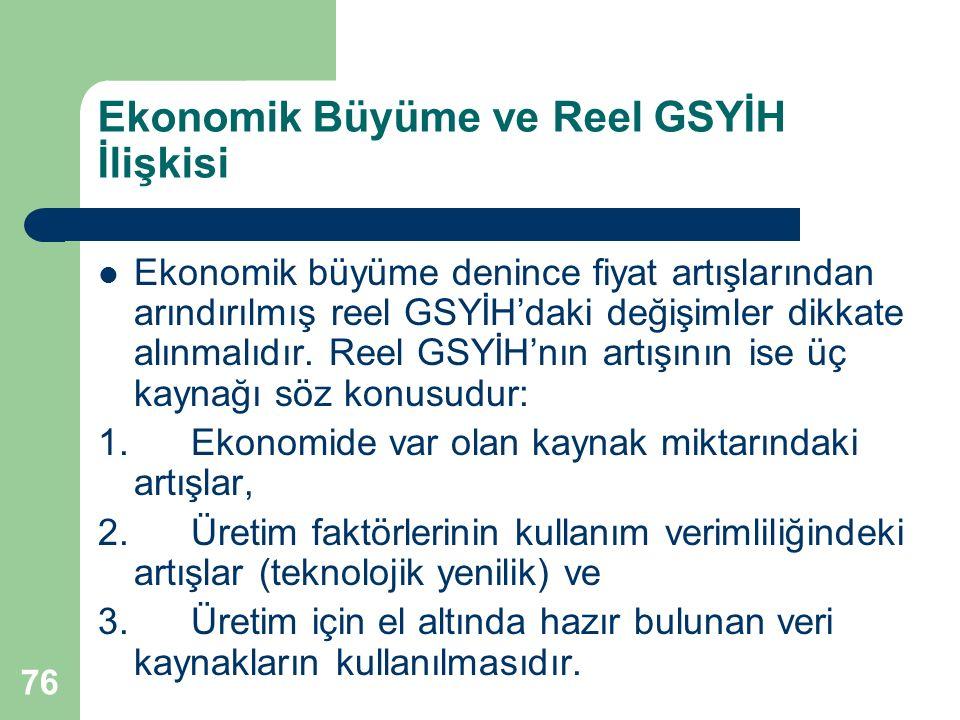 76 Ekonomik Büyüme ve Reel GSYİH İlişkisi Ekonomik büyüme denince fiyat artışlarından arındırılmış reel GSYİH'daki değişimler dikkate alınmalıdır.