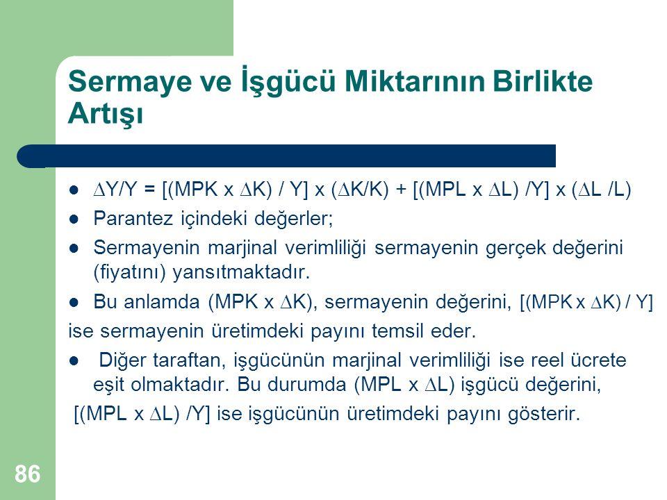 86 Sermaye ve İşgücü Miktarının Birlikte Artışı  Y/Y = [(MPK x  K) / Y] x (  K/K) + [(MPL x  L) /Y] x (  L /L) Parantez içindeki değerler; Sermay