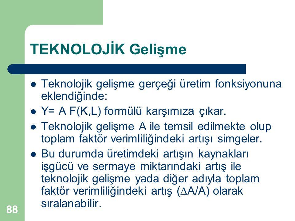 88 TEKNOLOJİK Gelişme Teknolojik gelişme gerçeği üretim fonksiyonuna eklendiğinde: Y= A F(K,L) formülü karşımıza çıkar. Teknolojik gelişme A ile temsi