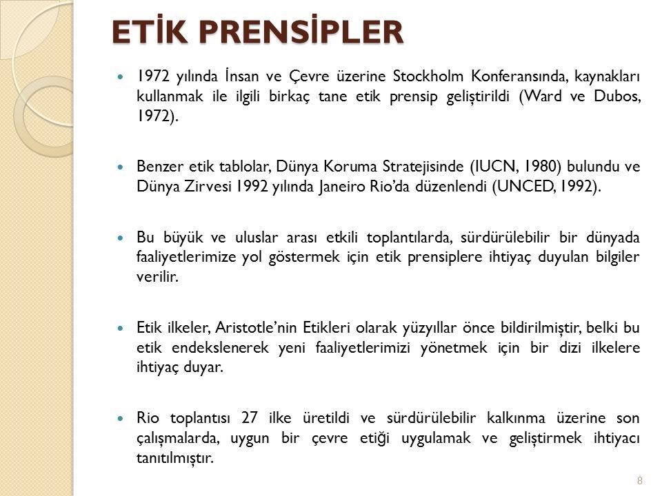ET İ K PRENS İ PLER 1972 yılında İ nsan ve Çevre üzerine Stockholm Konferansında, kaynakları kullanmak ile ilgili birkaç tane etik prensip geliştirildi (Ward ve Dubos, 1972).