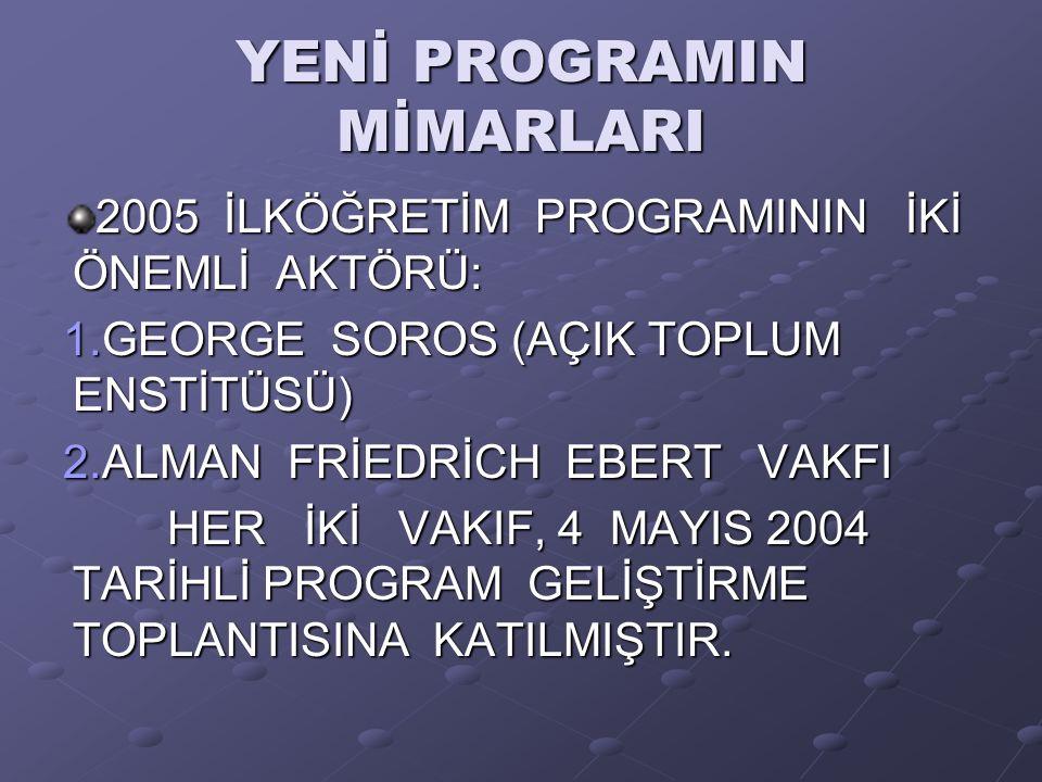 YENİ PROGRAMIN MİMARLARI 2005 İLKÖĞRETİM PROGRAMININ İKİ ÖNEMLİ AKTÖRÜ: 1.GEORGE SOROS (AÇIK TOPLUM ENSTİTÜSÜ) 2.ALMAN FRİEDRİCH EBERT VAKFI HER İKİ VAKIF, 4 MAYIS 2004 TARİHLİ PROGRAM GELİŞTİRME TOPLANTISINA KATILMIŞTIR.
