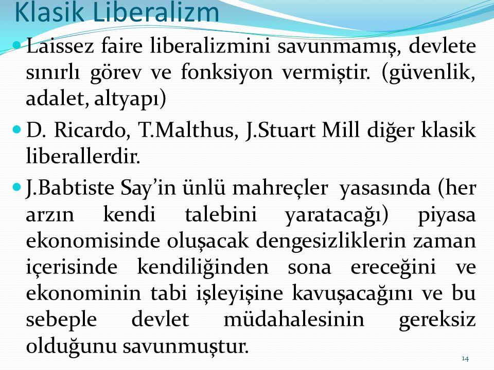 Klasik Liberalizm Laissez faire liberalizmini savunmamış, devlete sınırlı görev ve fonksiyon vermiştir. (güvenlik, adalet, altyapı) D. Ricardo, T.Malt