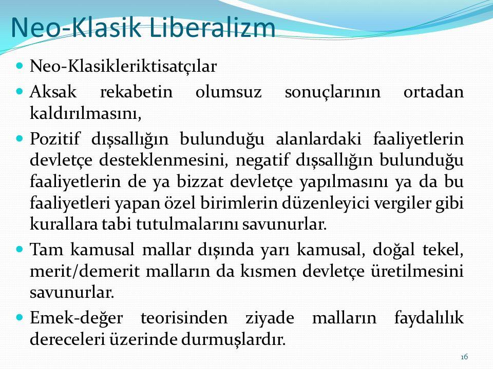 Neo-Klasik Liberalizm Neo-Klasikleriktisatçılar Aksak rekabetin olumsuz sonuçlarının ortadan kaldırılmasını, Pozitif dışsallığın bulunduğu alanlardaki