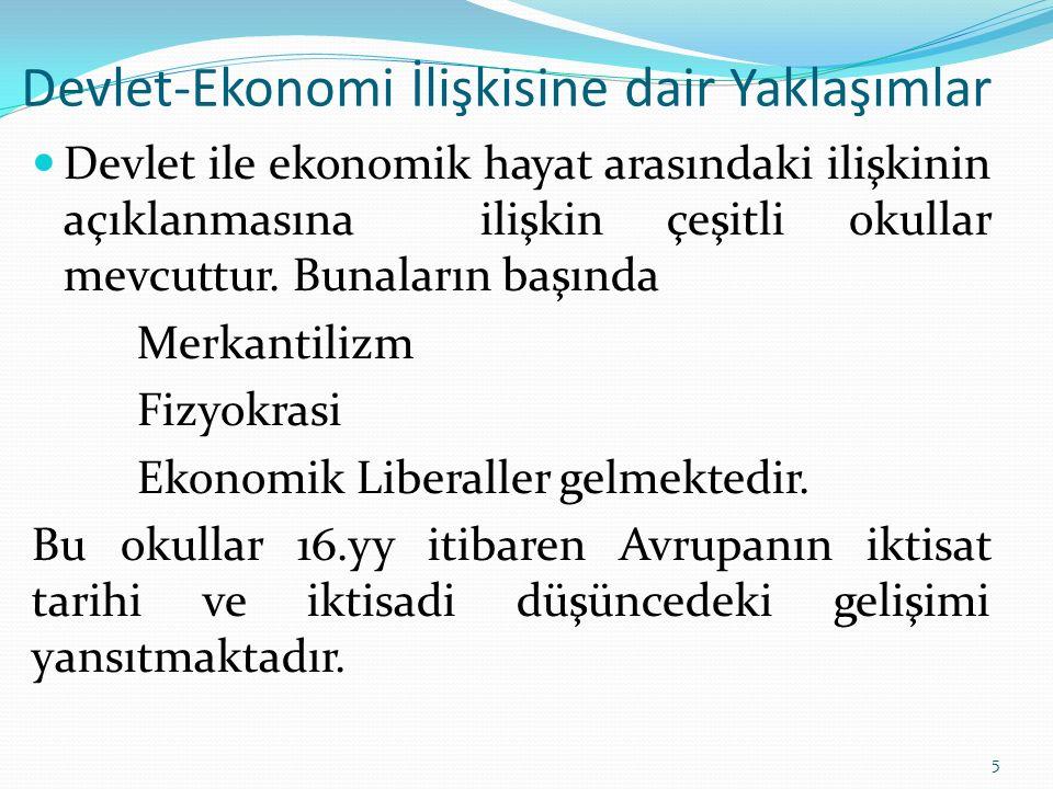Devlet-Ekonomi İlişkisine dair Yaklaşımlar Devlet ile ekonomik hayat arasındaki ilişkinin açıklanmasına ilişkin çeşitli okullar mevcuttur. Bunaların b