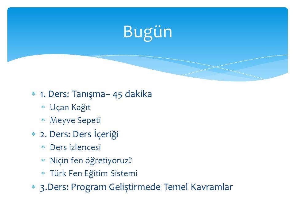  1. Ders: Tanışma– 45 dakika  Uçan Kağıt  Meyve Sepeti  2. Ders: Ders İçeriği  Ders izlencesi  Niçin fen öğretiyoruz?  Türk Fen Eğitim Sistemi