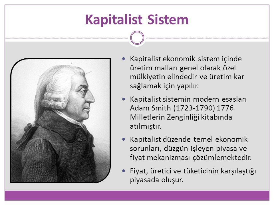 Kapitalist Sistem Kapitalist ekonomik sistem içinde üretim malları genel olarak özel mülkiyetin elindedir ve üretim kar sağlamak için yapılır.