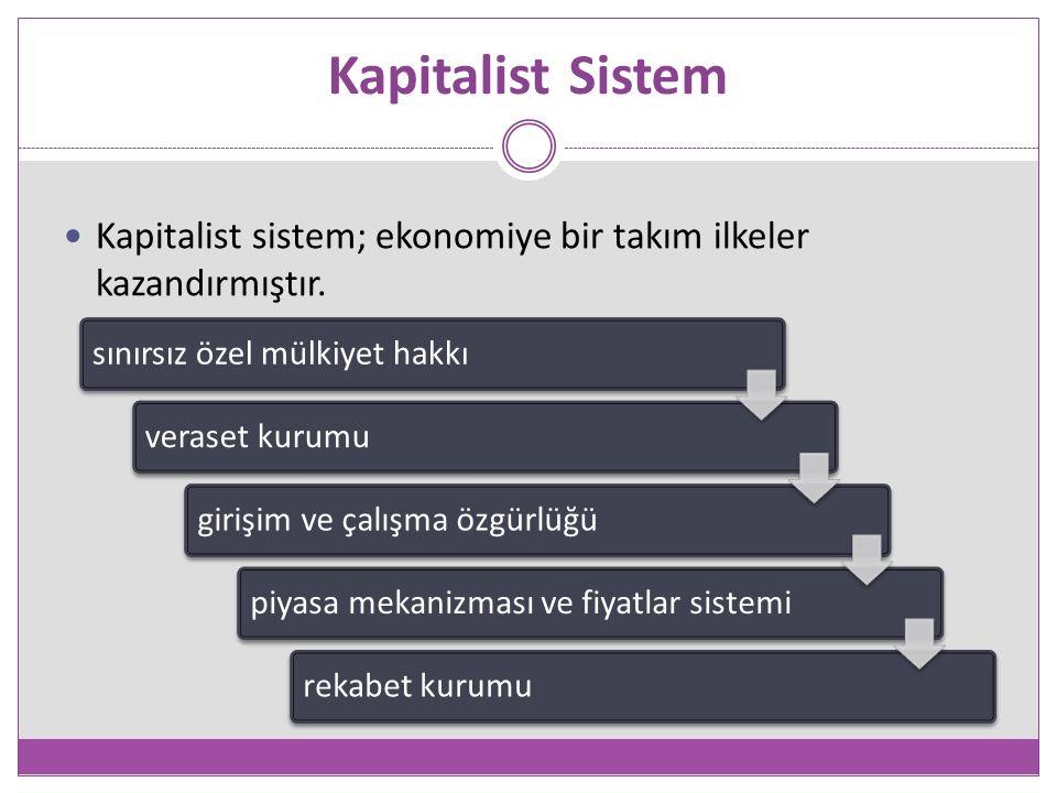 Kapitalist Sistem Kapitalist sistem; ekonomiye bir takım ilkeler kazandırmıştır.