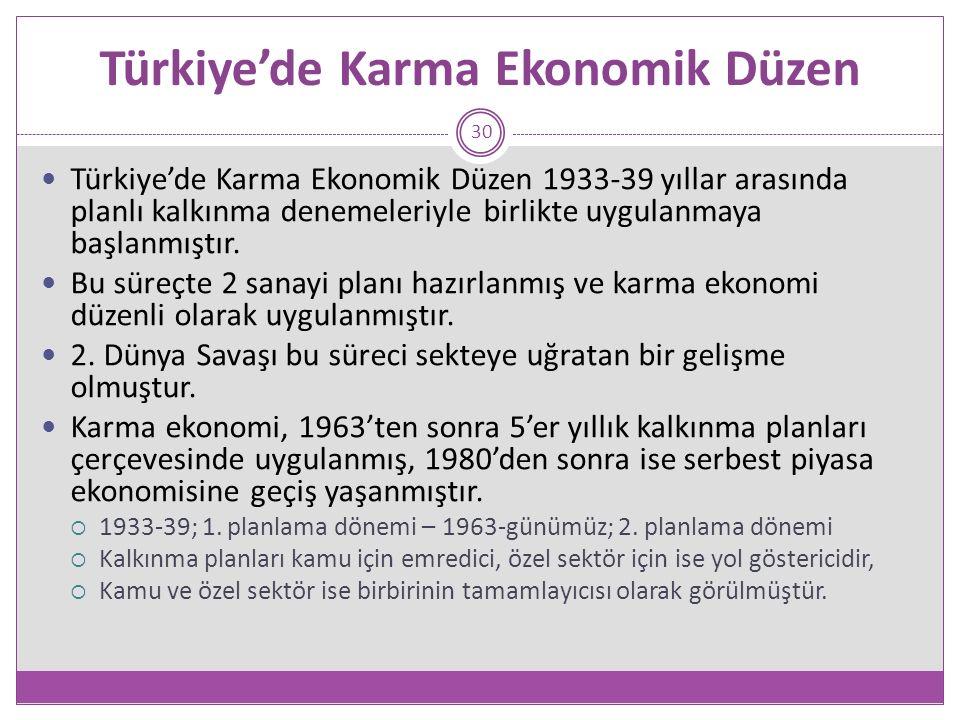 Türkiye'de Karma Ekonomik Düzen 30 Türkiye'de Karma Ekonomik Düzen 1933-39 yıllar arasında planlı kalkınma denemeleriyle birlikte uygulanmaya başlanmıştır.