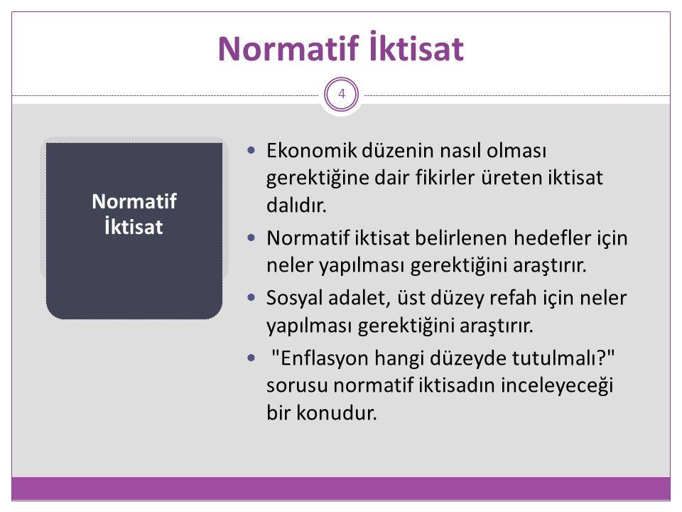 Normatif İktisat 4 Ekonomik düzenin nasıl olması gerektiğine dair fikirler üreten iktisat dalıdır.
