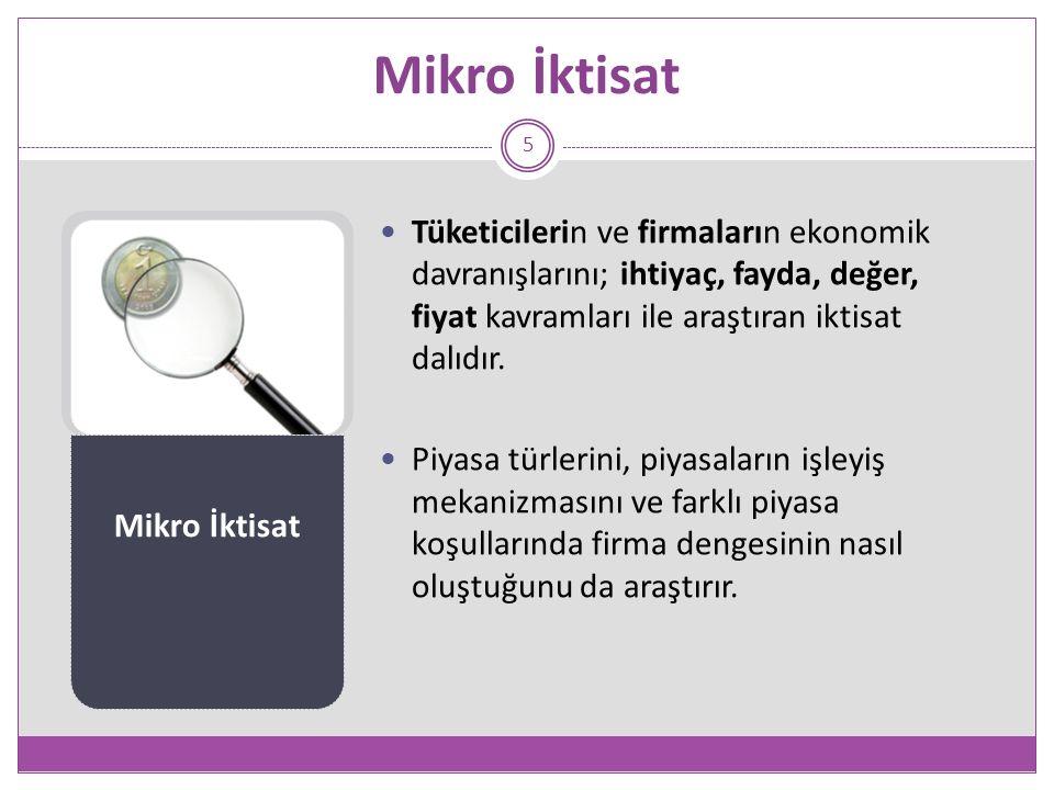 Mikro İktisat 5 Tüketicilerin ve firmaların ekonomik davranışlarını; ihtiyaç, fayda, değer, fiyat kavramları ile araştıran iktisat dalıdır.
