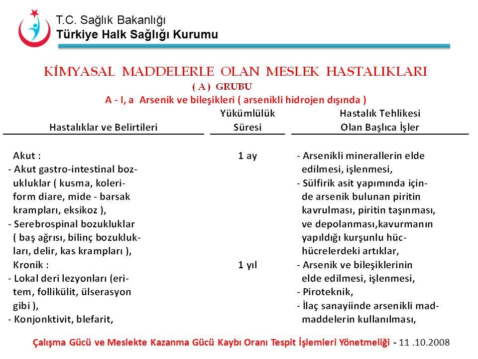 T.C. Sağlık Bakanlığı Türkiye Halk Sağlığı Kurumu Çalışma Gücü ve Meslekte Kazanma Gücü Kaybı Oranı Tespit İşlemleri Yönetmeliği - 11.10.2008