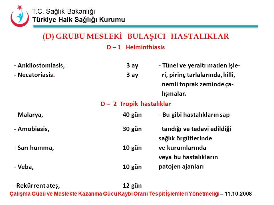 T.C. Sağlık Bakanlığı Türkiye Halk Sağlığı Kurumu (D) GRUBU MESLEKİ BULAŞICI HASTALIKLAR D – 1 Helminthiasis - Ankilostomiasis,3 ay - Tünel ve yeraltı