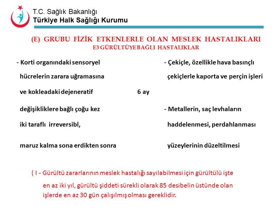 T.C. Sağlık Bakanlığı Türkiye Halk Sağlığı Kurumu - Korti organındaki sensoryel - Çekiçle, özellikle hava basınçlı hücrelerin zarara uğramasına çekiçl