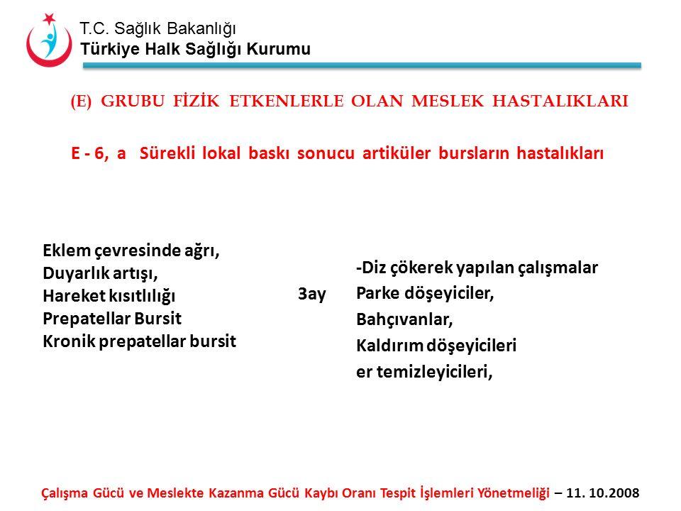 T.C. Sağlık Bakanlığı Türkiye Halk Sağlığı Kurumu E - 6, a Sürekli lokal baskı sonucu artiküler bursların hastalıkları Eklem çevresinde ağrı, Duyarlık