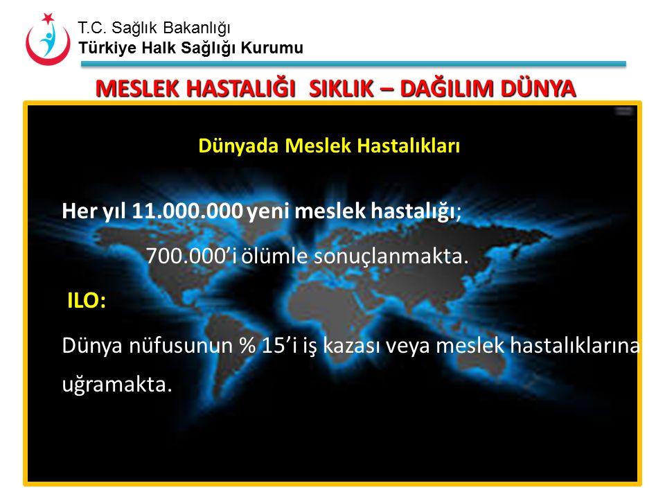 T.C. Sağlık Bakanlığı Türkiye Halk Sağlığı Kurumu Her yıl 11.000.000 yeni meslek hastalığı; 700.000'i ölümle sonuçlanmakta. ILO: Dünya nüfusunun % 15'