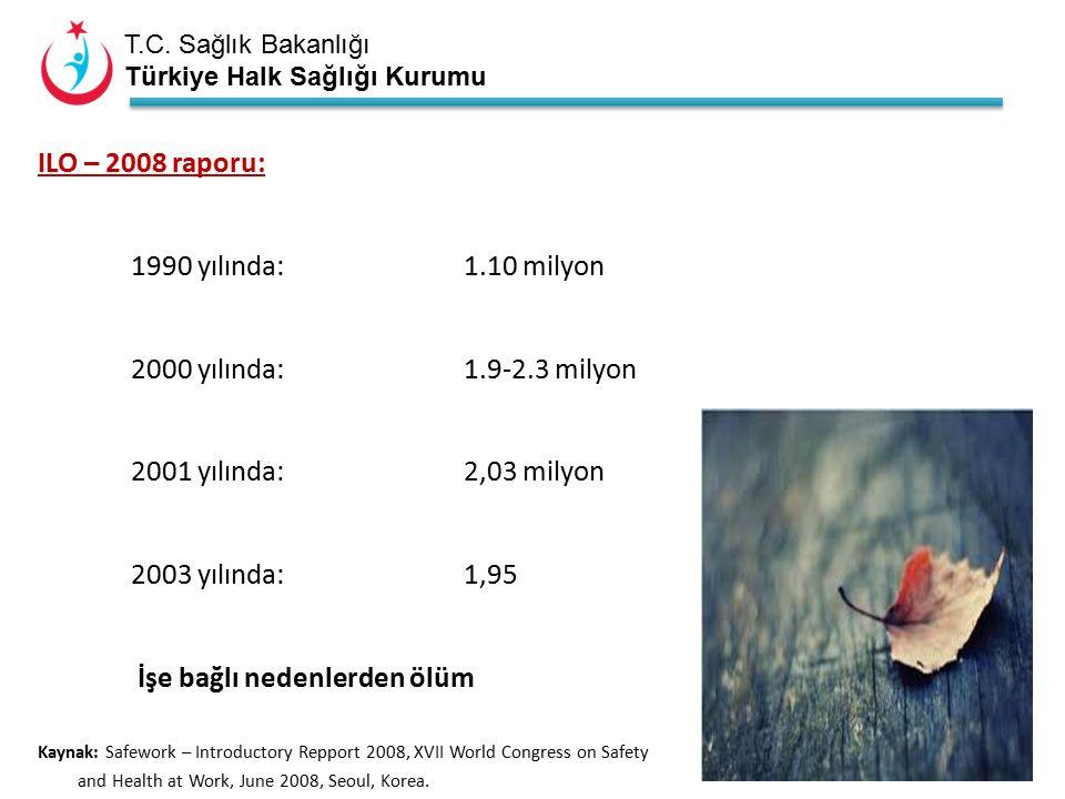 T.C. Sağlık Bakanlığı Türkiye Halk Sağlığı Kurumu ILO – 2008 raporu: 1990 yılında:1.10 milyon 2000 yılında:1.9-2.3 milyon 2001 yılında:2,03 milyon 200