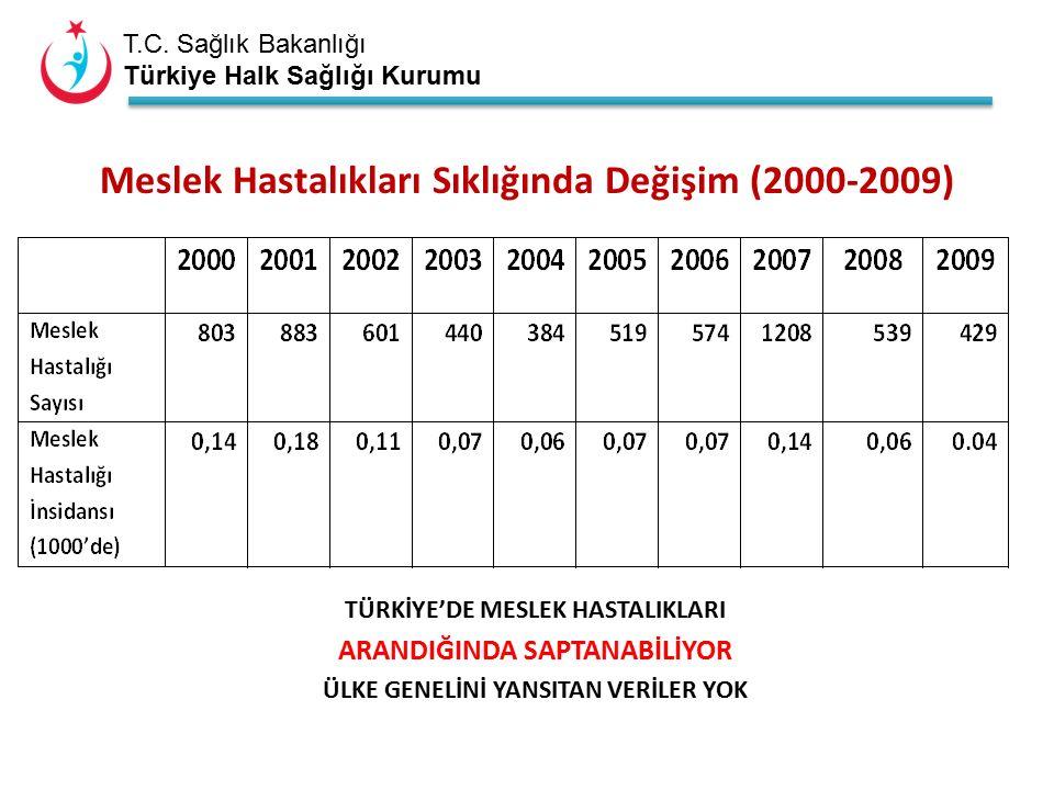 T.C. Sağlık Bakanlığı Türkiye Halk Sağlığı Kurumu TÜRKİYE'DE MESLEK HASTALIKLARI ARANDIĞINDA SAPTANABİLİYOR ÜLKE GENELİNİ YANSITAN VERİLER YOK Meslek