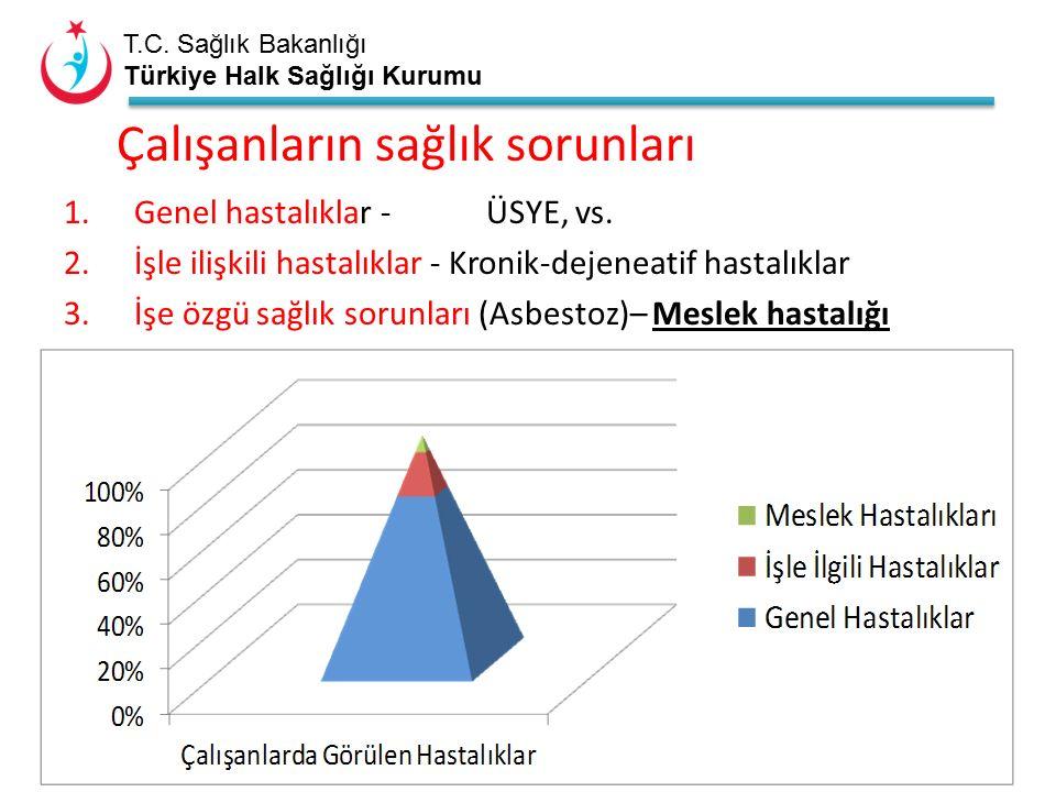 T.C. Sağlık Bakanlığı Türkiye Halk Sağlığı Kurumu Çalışanların sağlık sorunları 1.Genel hastalıklar - ÜSYE, vs. 2.İşle ilişkili hastalıklar - Kronik-d
