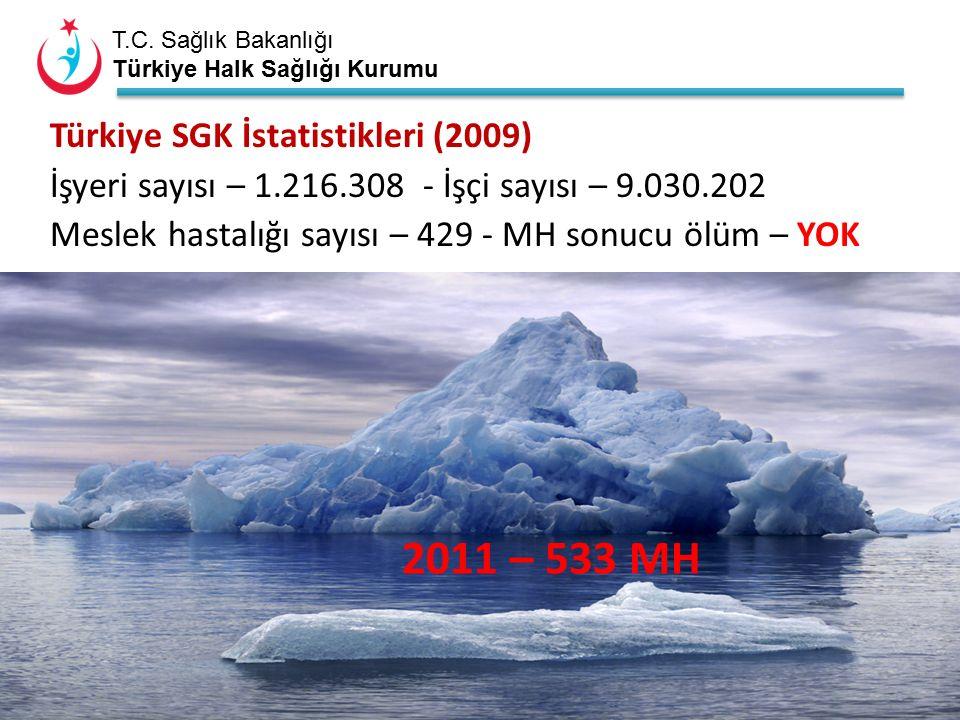 T.C. Sağlık Bakanlığı Türkiye Halk Sağlığı Kurumu Türkiye SGK İstatistikleri (2009) İşyeri sayısı – 1.216.308 - İşçi sayısı – 9.030.202 Meslek hastalı