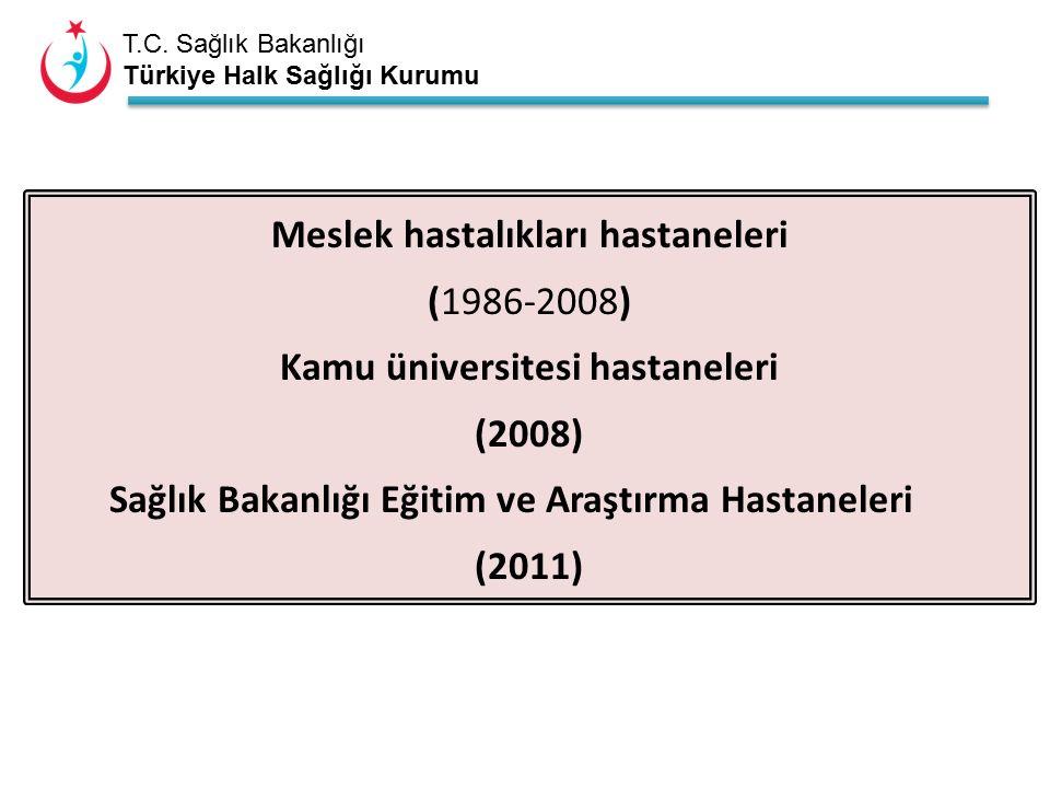 T.C. Sağlık Bakanlığı Türkiye Halk Sağlığı Kurumu Meslek hastalıkları hastaneleri (1986-2008) Kamu üniversitesi hastaneleri (2008) Sağlık Bakanlığı Eğ