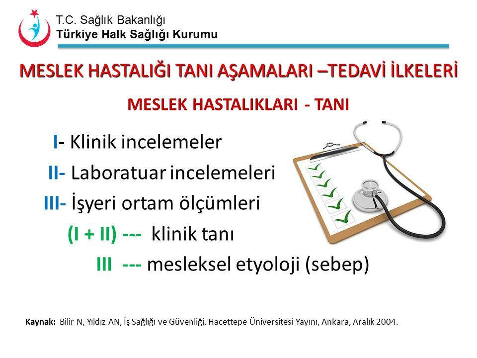 T.C. Sağlık Bakanlığı Türkiye Halk Sağlığı Kurumu MESLEK HASTALIĞI TANI AŞAMALARI –TEDAVİ İLKELERİ MESLEK HASTALIKLARI - TANI I- Klinik incelemeler II