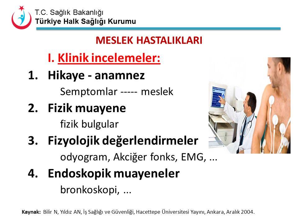 T.C. Sağlık Bakanlığı Türkiye Halk Sağlığı Kurumu MESLEK HASTALIKLARI I.