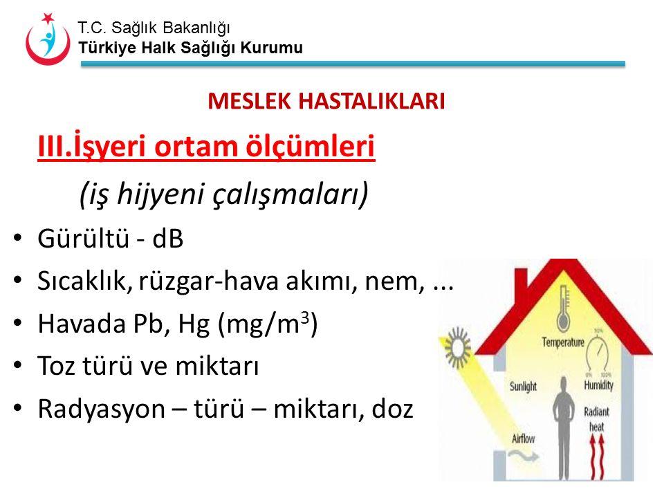 T.C. Sağlık Bakanlığı Türkiye Halk Sağlığı Kurumu MESLEK HASTALIKLARI III.İşyeri ortam ölçümleri (iş hijyeni çalışmaları) Gürültü - dB Sıcaklık, rüzga