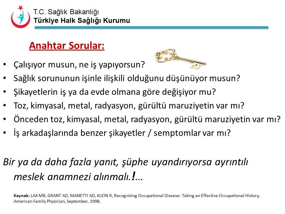 T.C. Sağlık Bakanlığı Türkiye Halk Sağlığı Kurumu Çalışıyor musun, ne iş yapıyorsun.