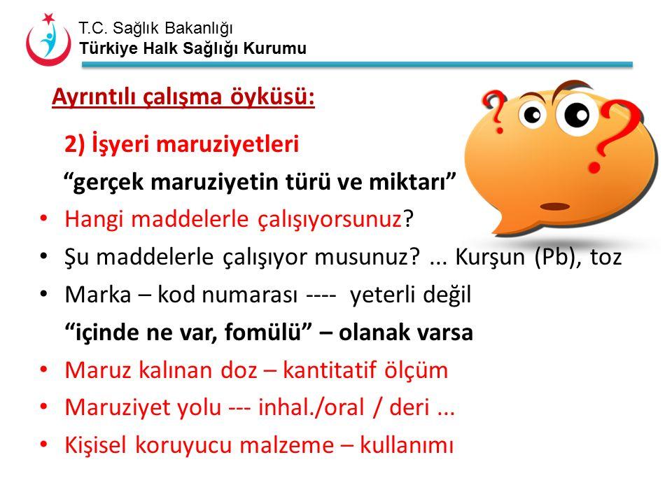 """T.C. Sağlık Bakanlığı Türkiye Halk Sağlığı Kurumu Ayrıntılı çalışma öyküsü: 2) İşyeri maruziyetleri """"gerçek maruziyetin türü ve miktarı"""" Hangi maddele"""