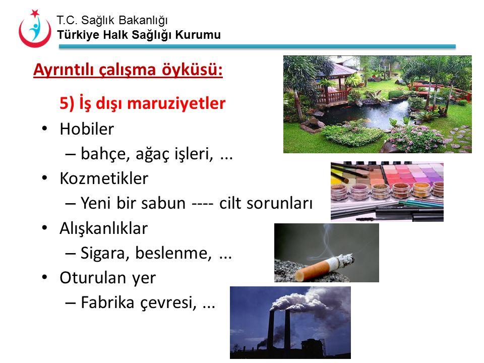 T.C. Sağlık Bakanlığı Türkiye Halk Sağlığı Kurumu Ayrıntılı çalışma öyküsü: 5) İş dışı maruziyetler Hobiler – bahçe, ağaç işleri,... Kozmetikler – Yen