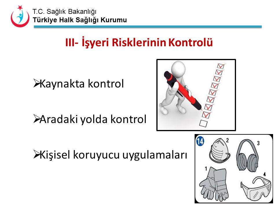 T.C. Sağlık Bakanlığı Türkiye Halk Sağlığı Kurumu III- İşyeri Risklerinin Kontrolü  Kaynakta kontrol  Aradaki yolda kontrol  Kişisel koruyucu uygul