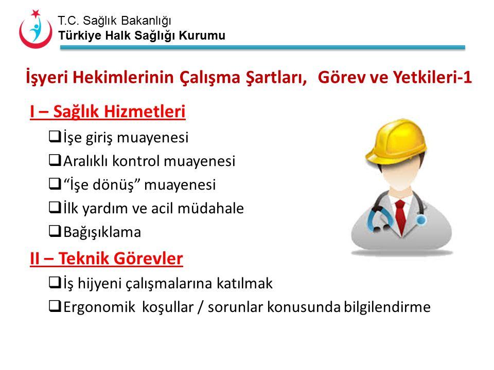 T.C. Sağlık Bakanlığı Türkiye Halk Sağlığı Kurumu İşyeri Hekimlerinin Çalışma Şartları, Görev ve Yetkileri-1 I – Sağlık Hizmetleri  İşe giriş muayene