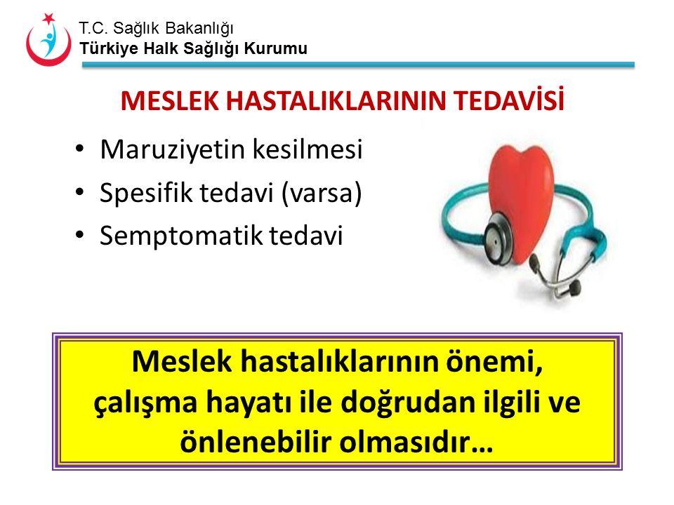 T.C. Sağlık Bakanlığı Türkiye Halk Sağlığı Kurumu MESLEK HASTALIKLARININ TEDAVİSİ Maruziyetin kesilmesi Spesifik tedavi (varsa) Semptomatik tedavi Mes