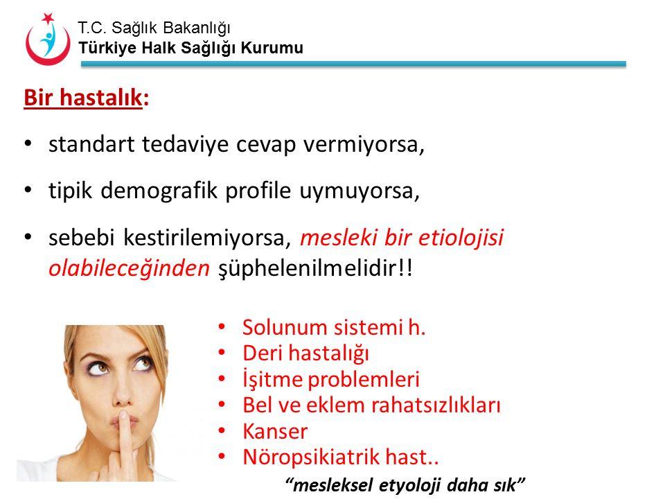 T.C. Sağlık Bakanlığı Türkiye Halk Sağlığı Kurumu Bir hastalık: standart tedaviye cevap vermiyorsa, tipik demografik profile uymuyorsa, sebebi kestiri