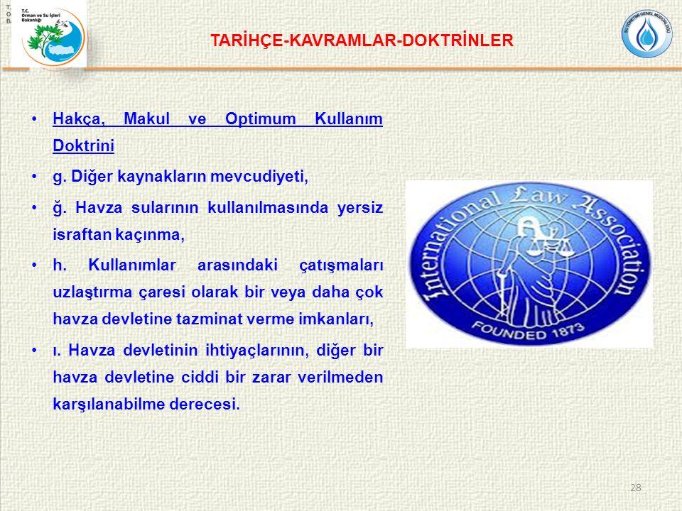 TARİHÇE-KAVRAMLAR-DOKTRİNLER Hakça, Makul ve Optimum Kullanım Doktrini g.