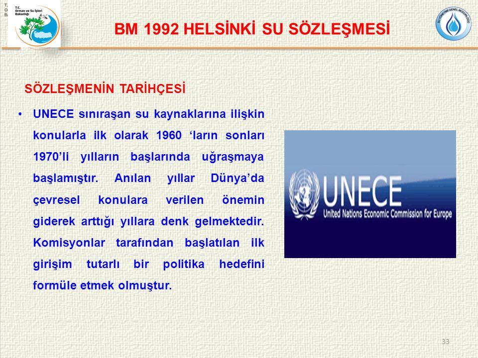BM 1992 HELSİNKİ SU SÖZLEŞMESİ SÖZLEŞMENİN TARİHÇESİ UNECE sınıraşan su kaynaklarına ilişkin konularla ilk olarak 1960 'ların sonları 1970'li yılların başlarında uğraşmaya başlamıştır.
