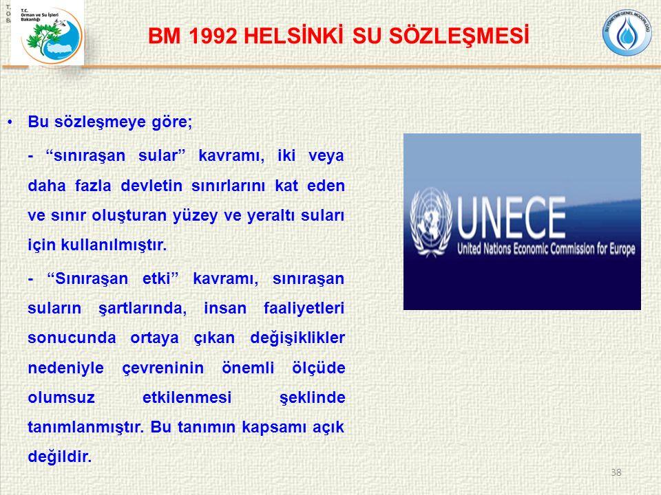 BM 1992 HELSİNKİ SU SÖZLEŞMESİ Bu sözleşmeye göre; - sınıraşan sular kavramı, iki veya daha fazla devletin sınırlarını kat eden ve sınır oluşturan yüzey ve yeraltı suları için kullanılmıştır.