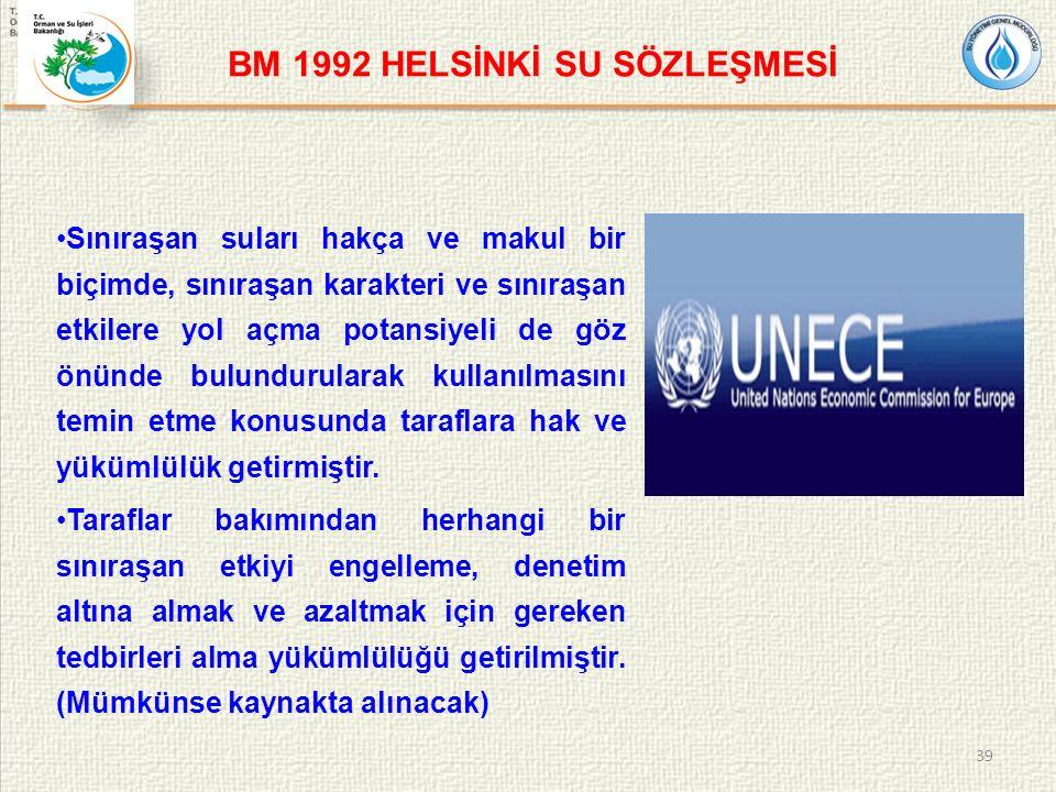 BM 1992 HELSİNKİ SU SÖZLEŞMESİ Sınıraşan suları hakça ve makul bir biçimde, sınıraşan karakteri ve sınıraşan etkilere yol açma potansiyeli de göz önünde bulundurularak kullanılmasını temin etme konusunda taraflara hak ve yükümlülük getirmiştir.