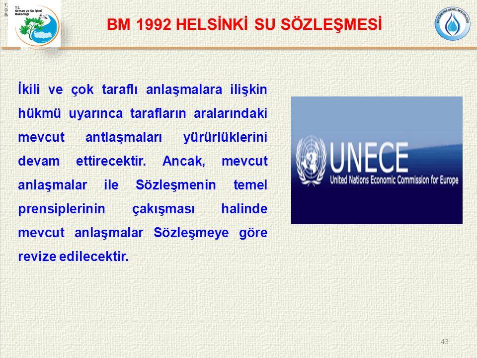 BM 1992 HELSİNKİ SU SÖZLEŞMESİ İkili ve çok taraflı anlaşmalara ilişkin hükmü uyarınca tarafların aralarındaki mevcut antlaşmaları yürürlüklerini devam ettirecektir.