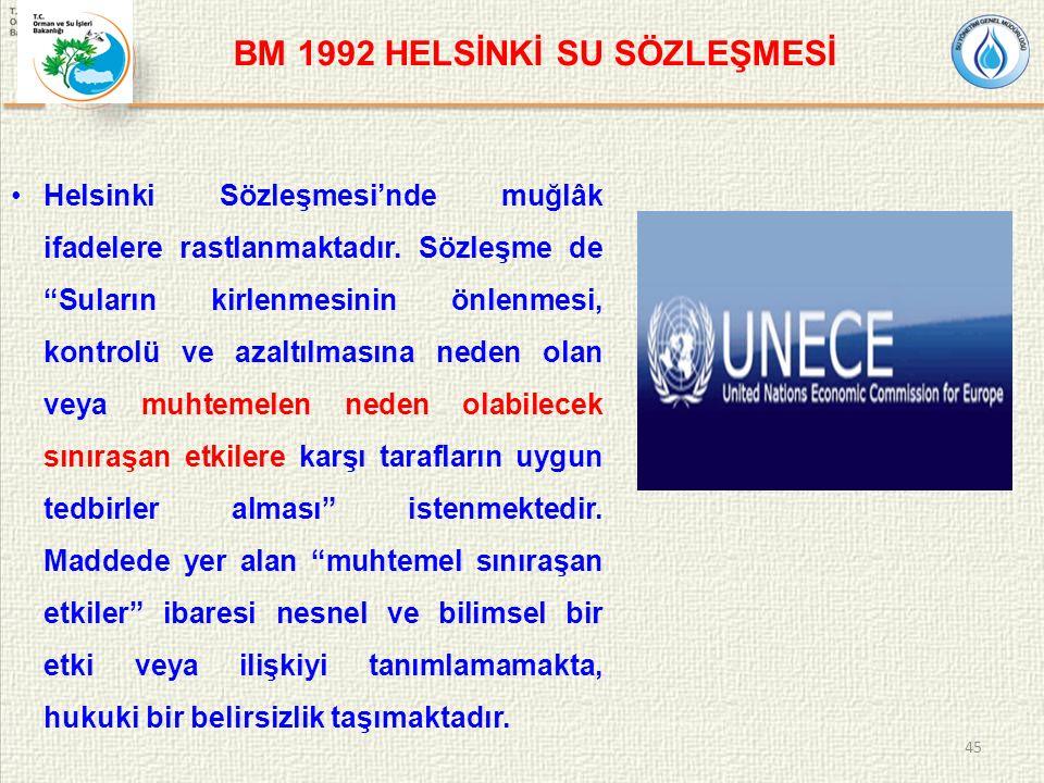 BM 1992 HELSİNKİ SU SÖZLEŞMESİ Helsinki Sözleşmesi'nde muğlâk ifadelere rastlanmaktadır.