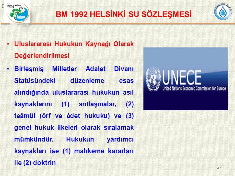 BM 1992 HELSİNKİ SU SÖZLEŞMESİ Uluslararası Hukukun Kaynağı Olarak Değerlendirilmesi Birleşmiş Milletler Adalet Divanı Statüsündeki düzenleme esas alındığında uluslararası hukukun asıl kaynaklarını (1) antlaşmalar, (2) teâmül (örf ve âdet hukuku) ve (3) genel hukuk ilkeleri olarak sıralamak mümkündür.