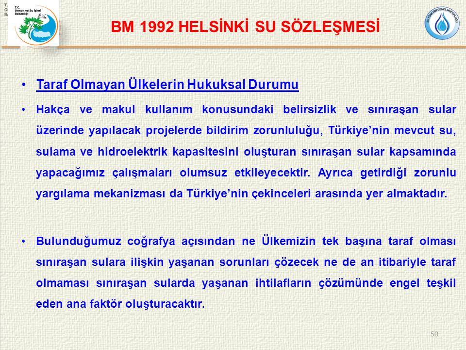 BM 1992 HELSİNKİ SU SÖZLEŞMESİ Taraf Olmayan Ülkelerin Hukuksal Durumu Hakça ve makul kullanım konusundaki belirsizlik ve sınıraşan sular üzerinde yapılacak projelerde bildirim zorunluluğu, Türkiye'nin mevcut su, sulama ve hidroelektrik kapasitesini oluşturan sınıraşan sular kapsamında yapacağımız çalışmaları olumsuz etkileyecektir.