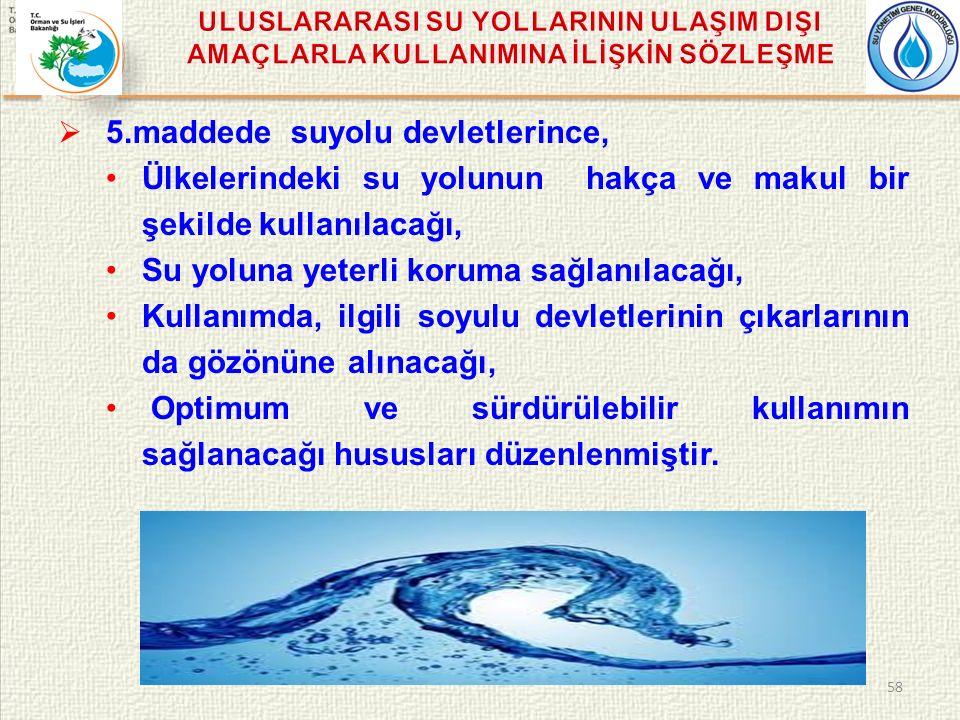  5.maddede suyolu devletlerince, Ülkelerindeki su yolunun hakça ve makul bir şekilde kullanılacağı, Su yoluna yeterli koruma sağlanılacağı, Kullanımda, ilgili soyulu devletlerinin çıkarlarının da gözönüne alınacağı, Optimum ve sürdürülebilir kullanımın sağlanacağı hususları düzenlenmiştir.