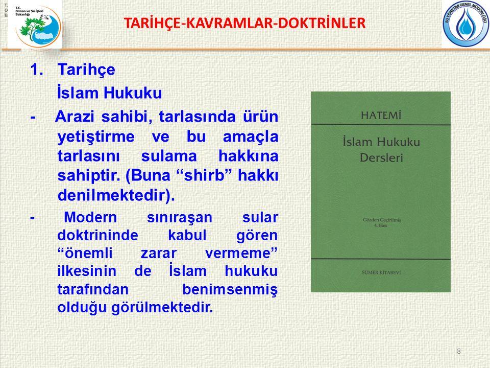 TARİHÇE-KAVRAMLAR-DOKTRİNLER 1.Tarihçe İslam Hukuku - Arazi sahibi, tarlasında ürün yetiştirme ve bu amaçla tarlasını sulama hakkına sahiptir.