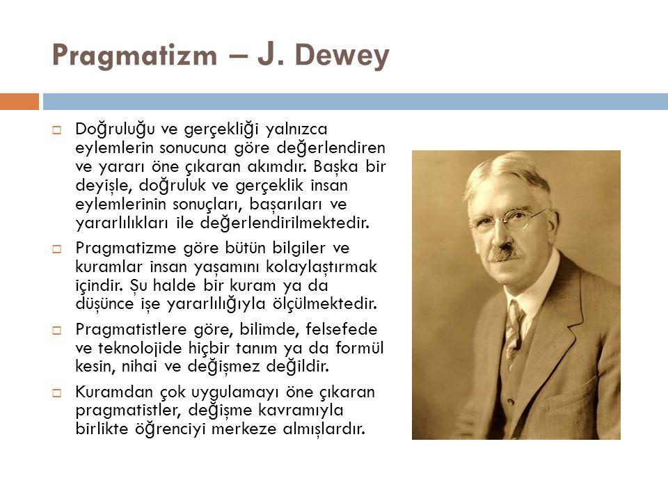 Pragmatizm – J. Dewey  Do ğ rulu ğ u ve gerçekli ğ i yalnızca eylemlerin sonucuna göre de ğ erlendiren ve yararı öne çıkaran akımdır. Başka bir deyiş