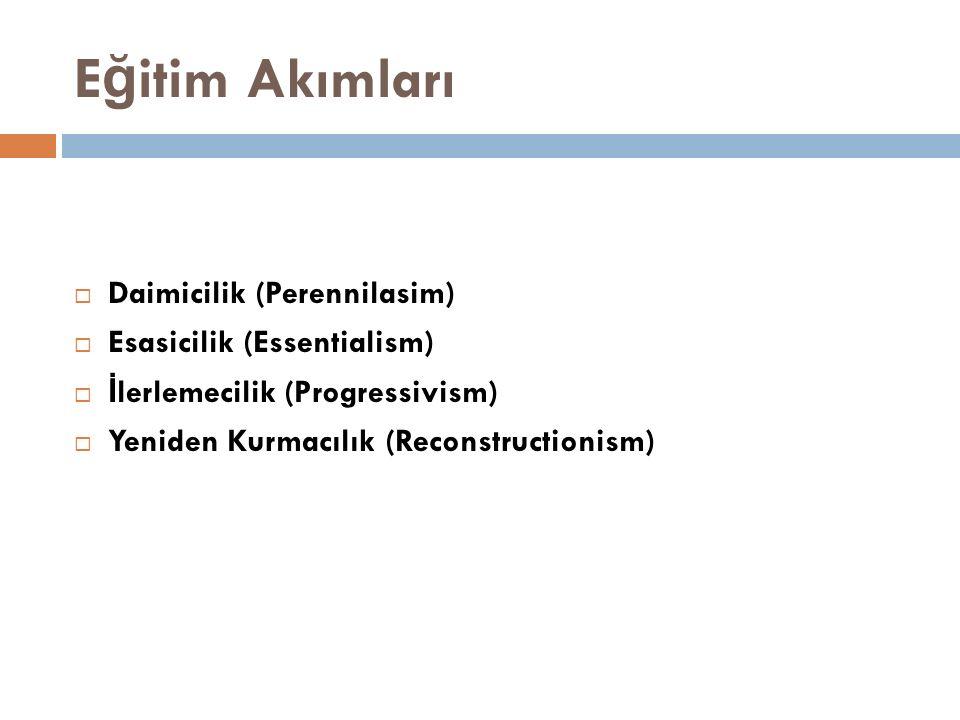 E ğ itim Akımları  Daimicilik (Perennilasim)  Esasicilik (Essentialism)  İ lerlemecilik (Progressivism)  Yeniden Kurmacılık (Reconstructionism)