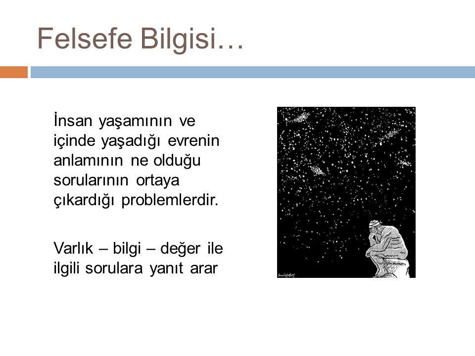 Felsefe Bilgisi… İnsan yaşamının ve içinde yaşadığı evrenin anlamının ne olduğu sorularının ortaya çıkardığı problemlerdir. Varlık – bilgi – değer ile