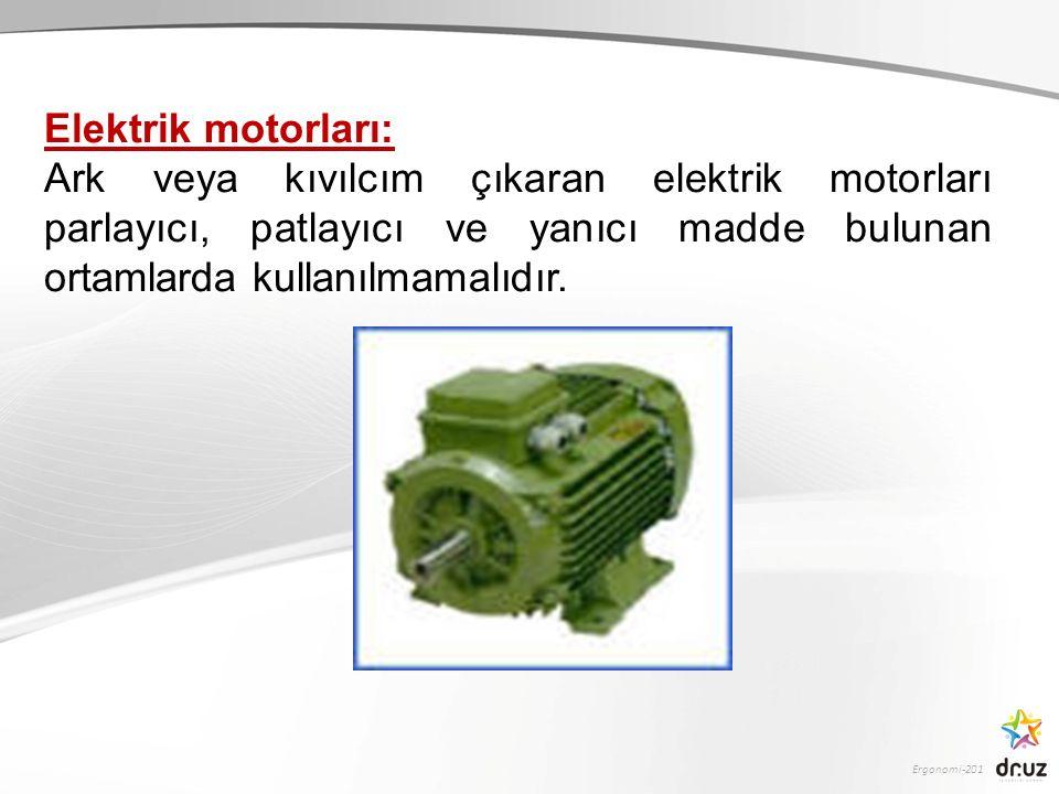 Ergonomi-201 Elektrik motorları: Ark veya kıvılcım çıkaran elektrik motorları parlayıcı, patlayıcı ve yanıcı madde bulunan ortamlarda kullanılmamalıdı